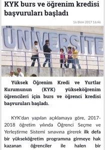 Kyk ve Yurt Başvuruları Başladı. (2017-2018)